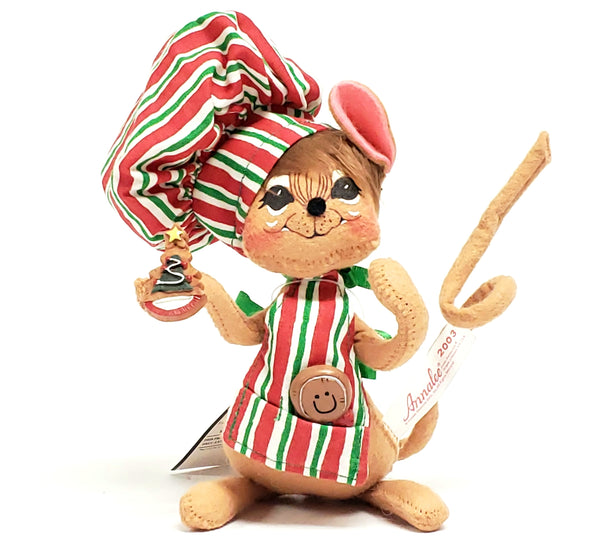 "Annalee Mobilitee 6"" Chef Mouse Baking Christmas Cookies- 2003 Collectible"
