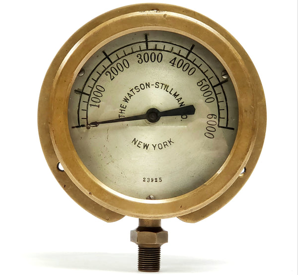 Antique Brass Pressure 6000 psi Gauge - The Watson-Stillman Co. Hydraulics