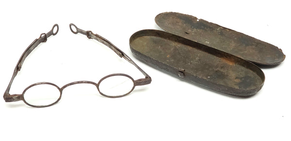 Antique Temple Spectacles with Tin Case - 1810-1830