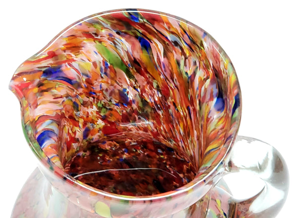 "End of the Day 9"" Blown Multi-Color Spatter Art Glass Pitcher"