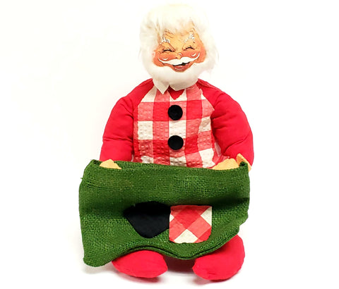 Vintage Annalee Sitting Santa Plaid Vest w/ Green Burlap Sack Closed Eyes