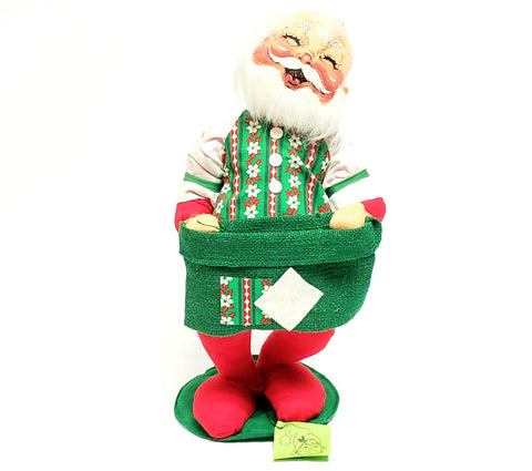 Annalee Standing Santa w/ Green Burlap Sack Festive Vest Closed Eyes Orig Tags