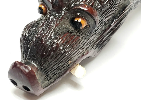 Unusual Wood Carved Paper-Knife, Mythical Figural Wild Boar Head