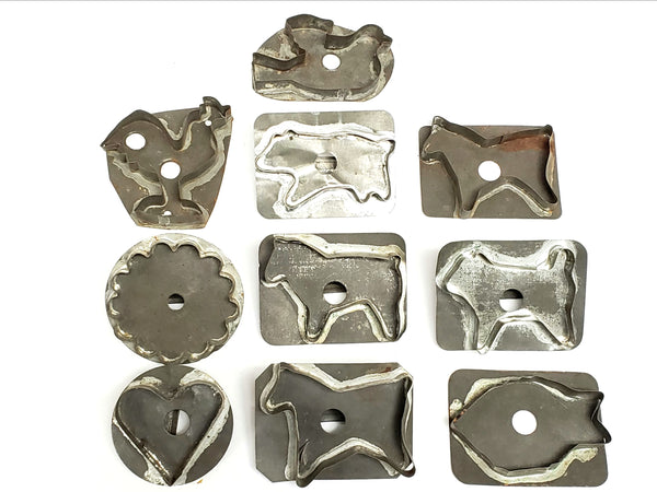 Antique Cookie Cutters w/ Flat Back, Soldered Seams, Collection of 10