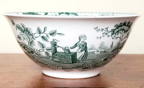 "Spode Green Archive Collection, ""Girl at Well"" Rice Bowl  - Made in England"