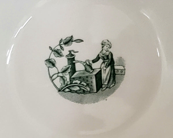 "Spode Green Archive Collection, ""Girl at Well"" Cranberry/Rice Bowl  - Made in England"
