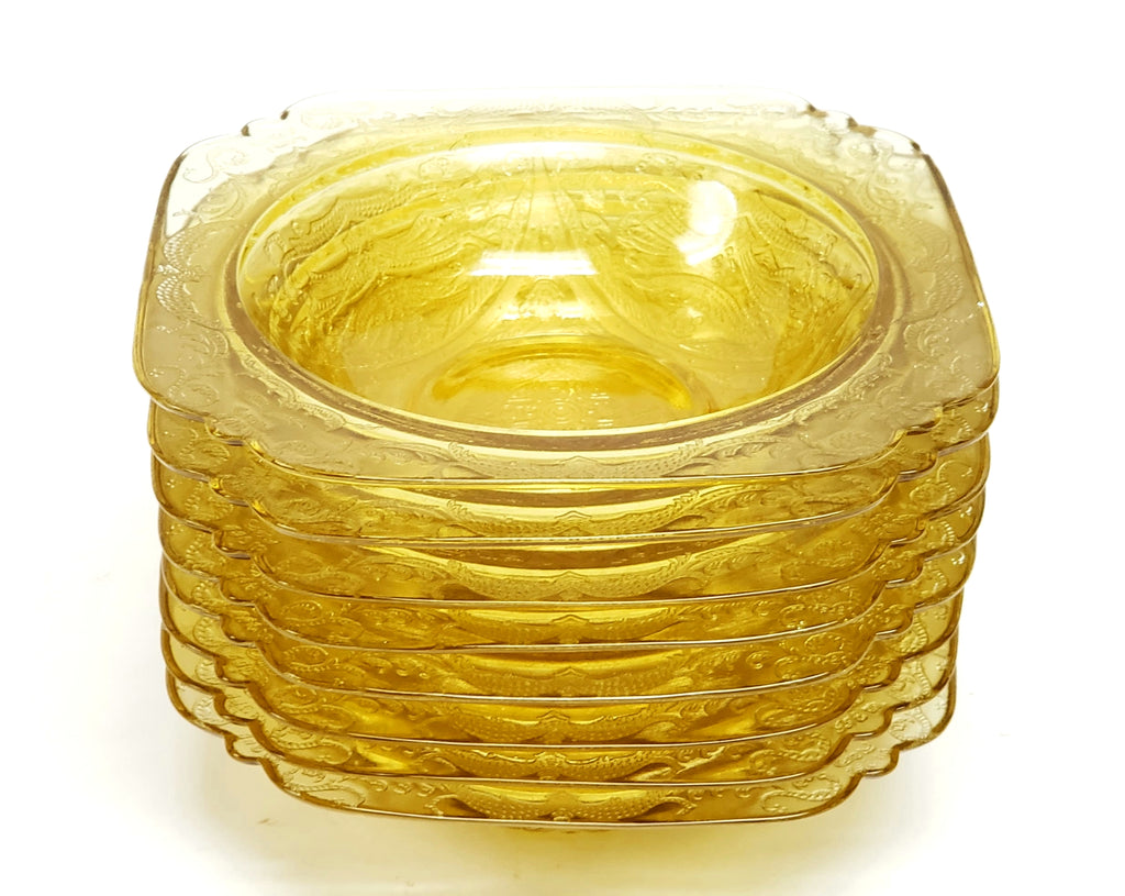 Madrid Amber Depression Glass Rim Soup Bowls Set of 8 by Federal Glass
