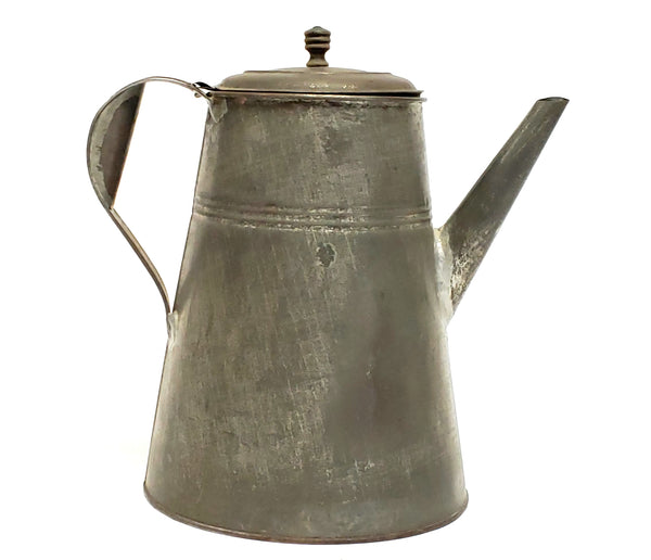 "Antique 10 1/2"" Tin Coffee Pot With Soldered Seams"