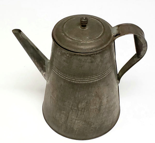 Antique Tin Coffee Pot With Soldered Seams, 1800's
