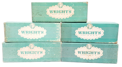 Vintage Wrights Acetate Ribbon Original Boxes,  Advertising - 64 Skeins