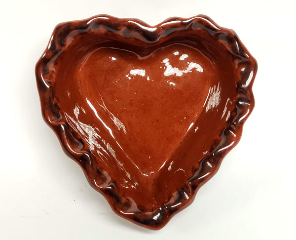 Ned Foltz Pottery Heart Shaped Glazed Redware Trinket Dish 1984