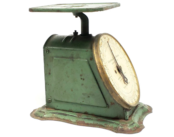 Antique Green Columbia Family Kitchen Scale Lander Frary & Clark Pat. 1907
