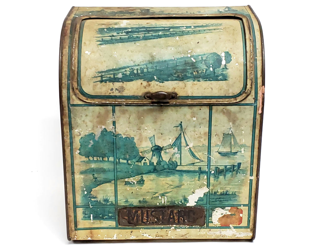 Antique General Store Counter Spice Mustard Bin w/ Litho Nautical Scene