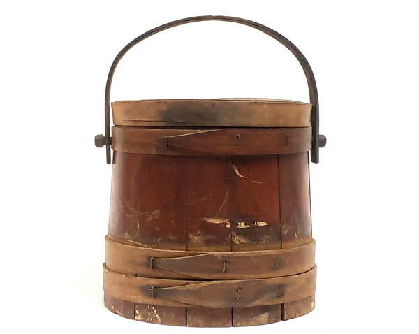 Vintage Wooden Firkin - Lidded Bentwood Sewing Storage Bucket