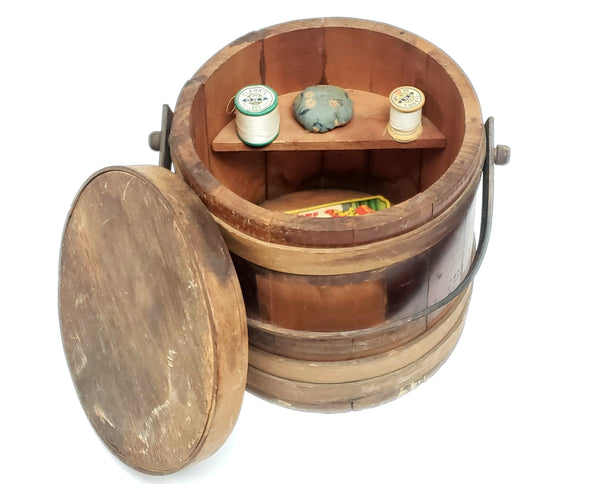 Vintage Wooden Firkin Sewing Storage Bucket