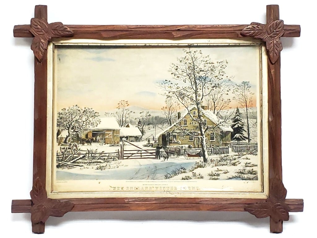 "Currier & Ives """"New England Winter Scene, Colored Lithograph Print by George Durrie"