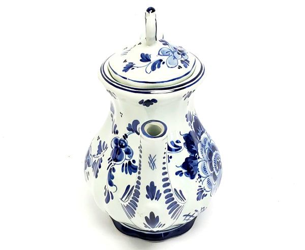 Delft Blue and White Hand Painted Floral Tea Pot, Holland #212