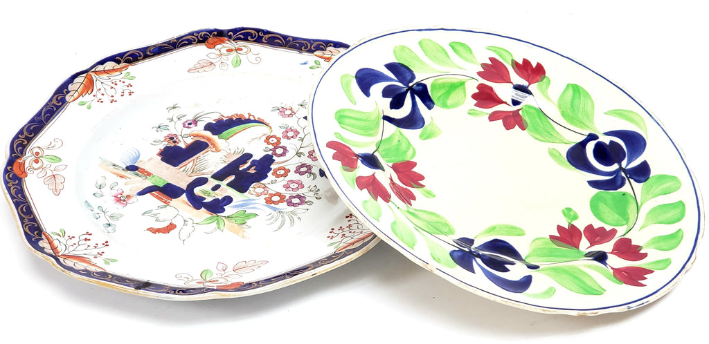 Early Colorful Worn Antique China Dishes - Mismatched  - Repurpose or Crafting