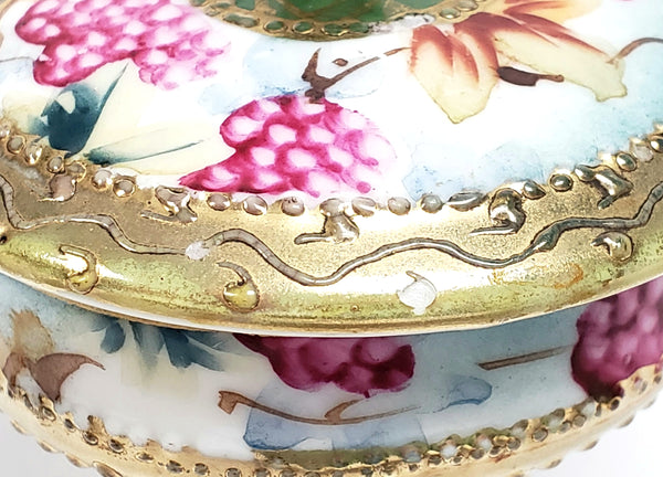 Antique Nippon Lidded Ring Dish, Hand Painted Porcelain - Maple Leaf Mark c 1891