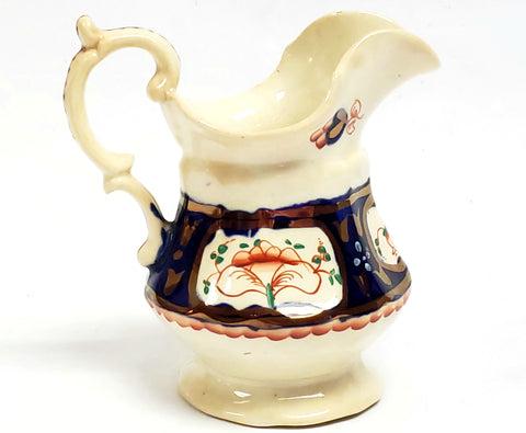 "Antique Gaudy Welsh Creamer Hand Painted ""Flower Basket"" c 1820-1860"