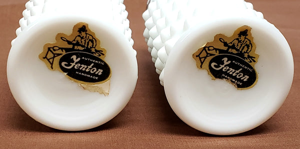 Fenton White Hobnail Milk Glass Salt and Pepper Shakers With Original Labels