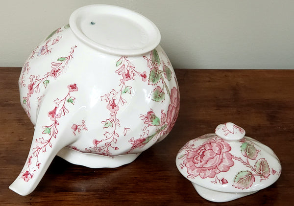Johnson Brothers Rose Chintz Pink English Tea Pot, Made in England