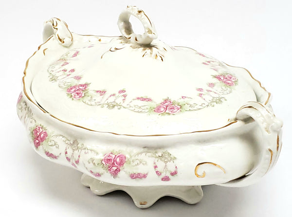 Early Oval Covered Vegetable Bowl, Pink Rose Swags by Johnson Brothers England