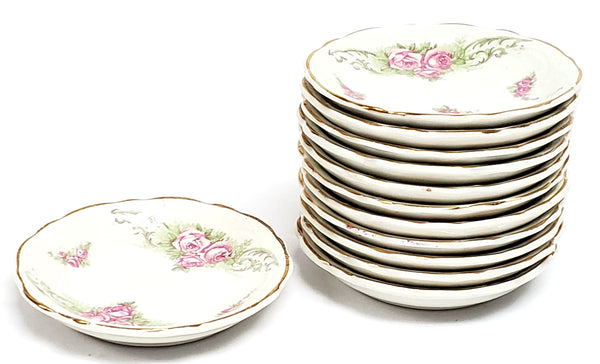 Antique Round Butter Pat Dishes, Set of 12, Pink Rose Clusters by Johnson Brothers England
