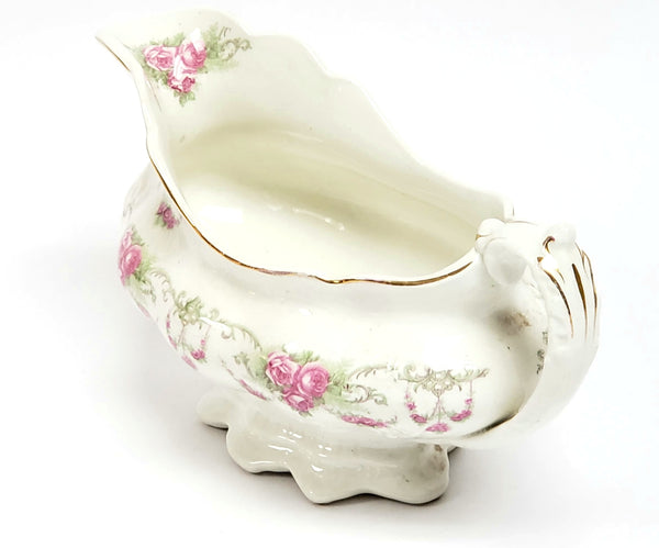 Antique Gravy Boat Pink Roses and Swags by Johnson Brothers England ~ 1891-1920