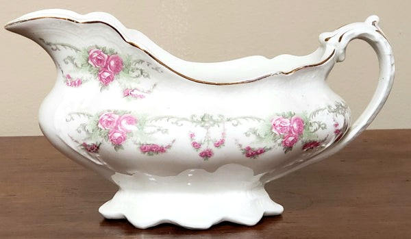 Antique Gravy Boat, Pink Roses Swags by Johnson Brothers England ~ 1891-1920