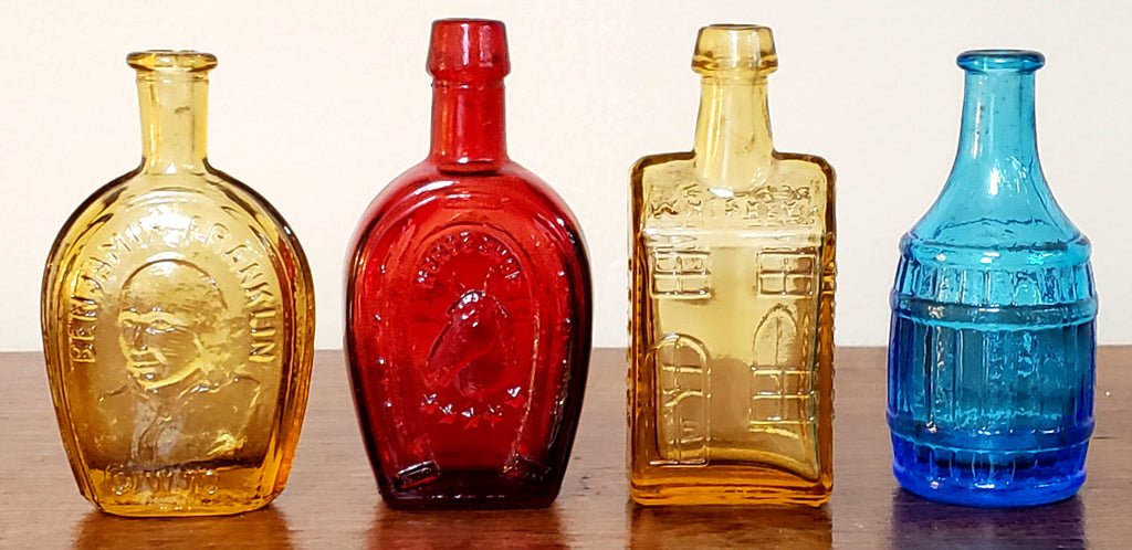 Wheaton Mini Colored Embossed Glass Bottles, Presidential, Whiskey, Horse Shoe, Root Sitters
