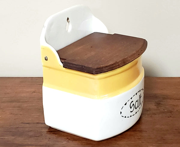 Czechoslovakia Deco Yellow & White Ceramic Salt Box w/ Wooden Flip Top Lid