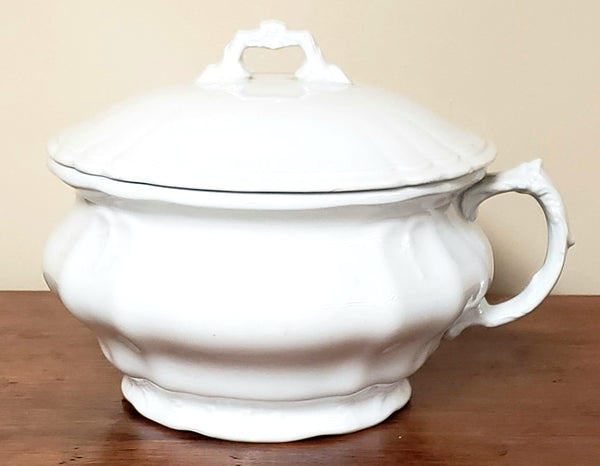 Antique White Ironstone Lidded Chamber Pot, Johnson Brothers England ~ Early 1900's