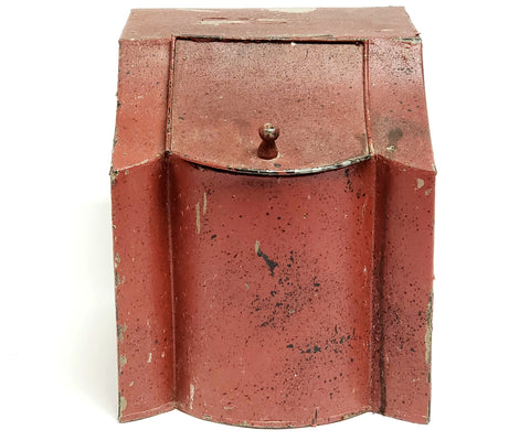 Antique Country General Store Counter-Top Tin In Original Red Paint