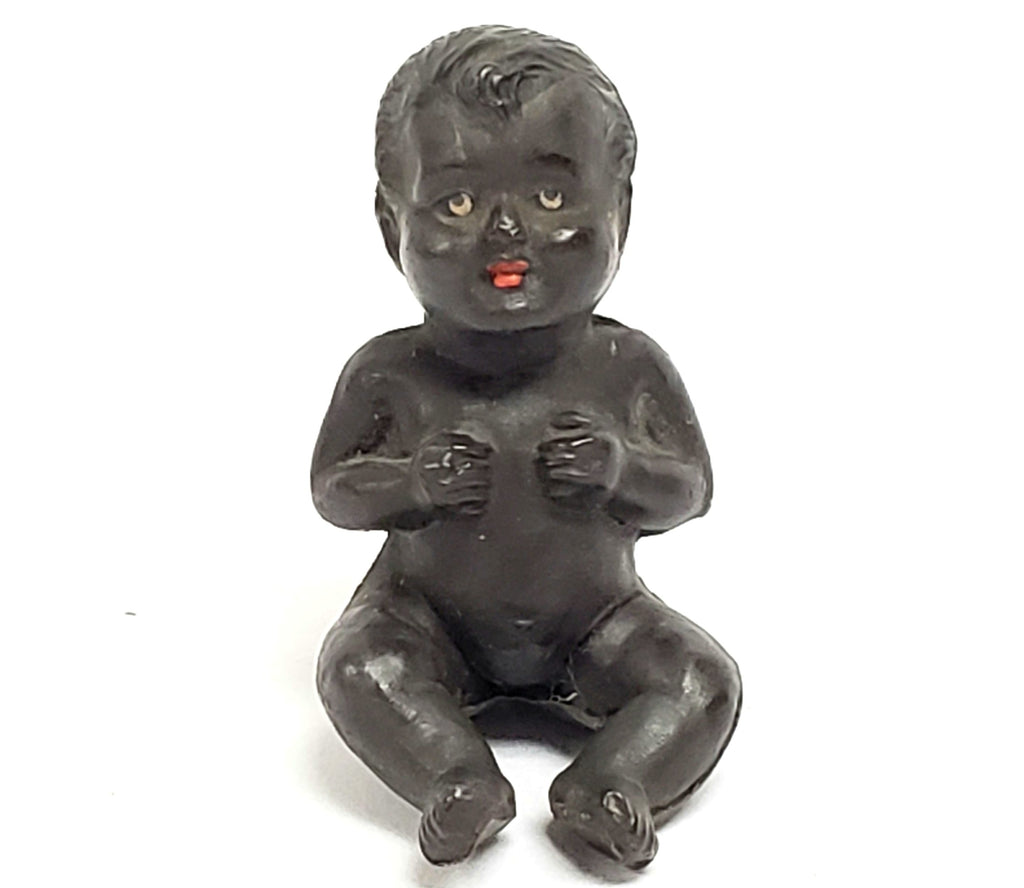Black African Miniature Celluloid Doll, Germany, Unusual Form, Early Mark Pre 1921