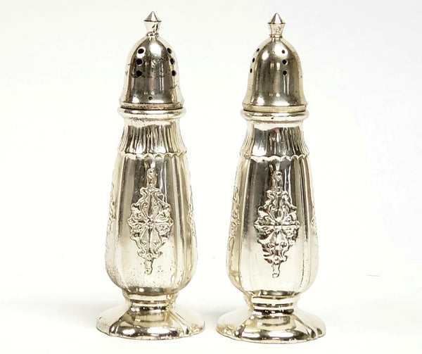 Sleek Silver Plate Salt & Pepper Shaker Set by Nasco Post WWII Era