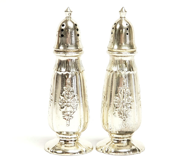 Sleek Silver Plate Salt and Pepper Shaker Set by Nasco Post WWII Era