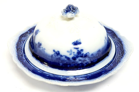 Antique Johnson Brothers Round Covered Butter Dish CLAYTON pattern c 1902