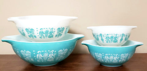 Pyrex Amish Butterprint Turquoise Cinderella Mixing Bowl Set of 4