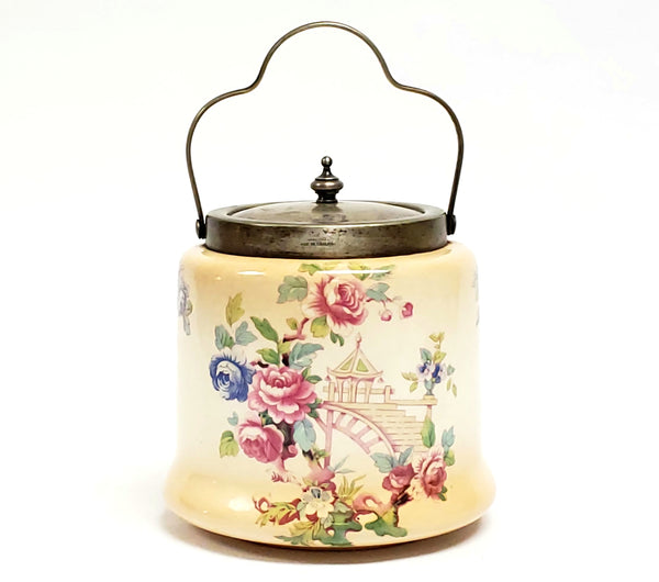 Antique Biscuit Barrel With EPNS Silver Plate Lid and Handle Gazebo and Roses, England