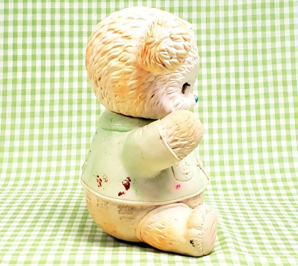 Vintage Squeaky Rubber Sleep Eyes Toy Bear by Edward Mobley Co., 1962