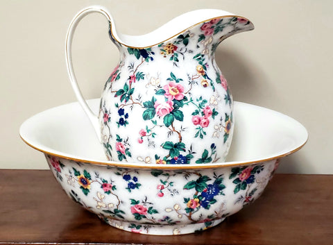 Crown Ducal Ware Chintz Pitcher & Wash Basin Set Ascot Pattern C 1920's