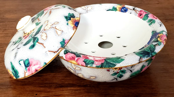 Crown Ducal Ware Chintz English Sponge Bowl w/ Lid, Ascot Pattern C 1920's England