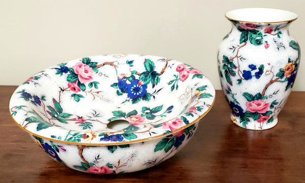 "Crown Ducal Ware ""Ascot"" Chintz English Sponge Bowl No Lid & Vase, 1920's England"