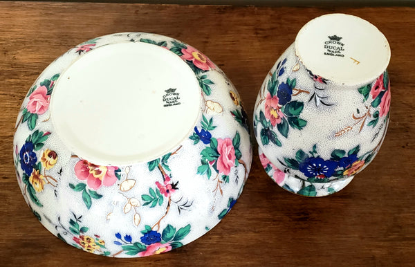 "Crown Ducal Ware ""Ascot"" Chintz English Sponge Bowl No Lid & Tooth Brush Holder, 1920's England"