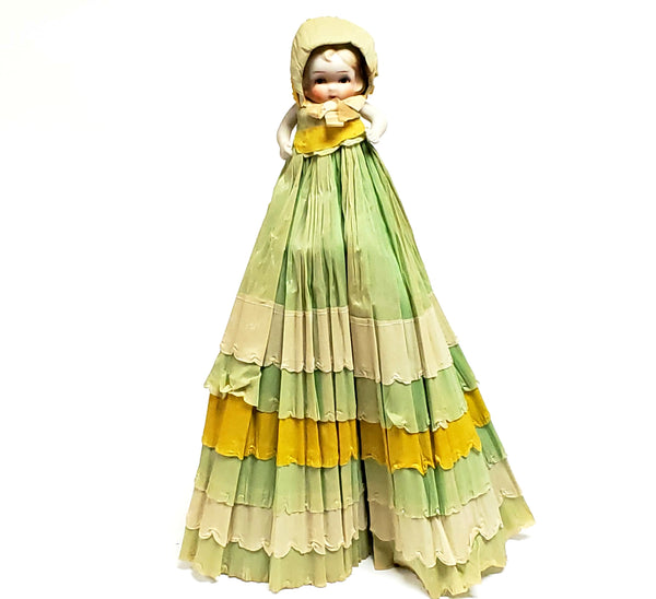 "Bisque Doll With Long Crepe Paper Victorian Dress and Bonnet, 18 1/2"", C 1930's"