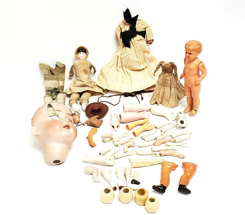 Large 52 Piece Lot of Antique & Vintage Doll Parts - Bisque, Celluloid, Cloth - Repair