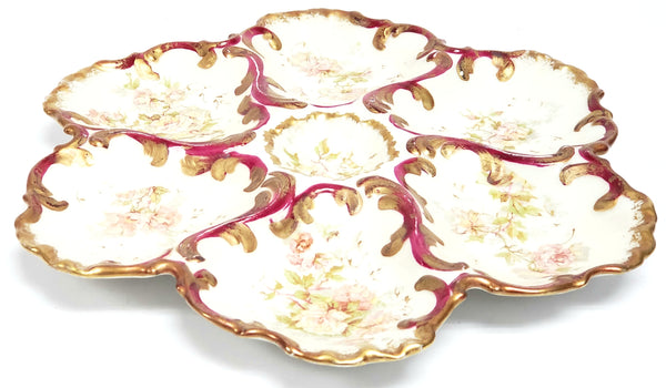 Antique Limoges France Porcelain Oyster Plate with Floral - Pink Roses