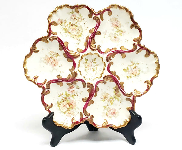 Antique Limoges France Porcelain Oyster Plate with Pink Roses