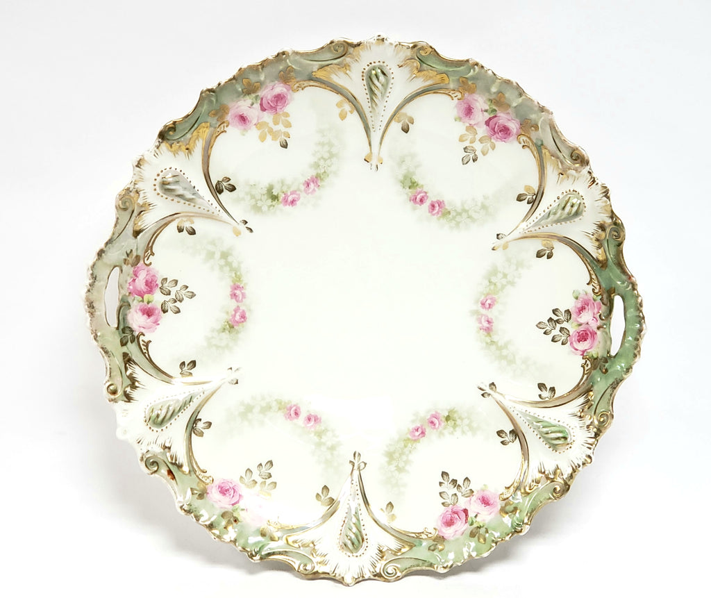 RS Prussia Scalloped Serving Dish, Pink Roses w/ Green Swag - Germany